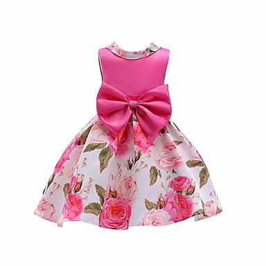 Χαμηλού Κόστους Φορέματα για κορίτσια-Παιδιά Κοριτσίστικα Βασικό Φλοράλ Αμάνικο Φόρεμα Ρουμπίνι