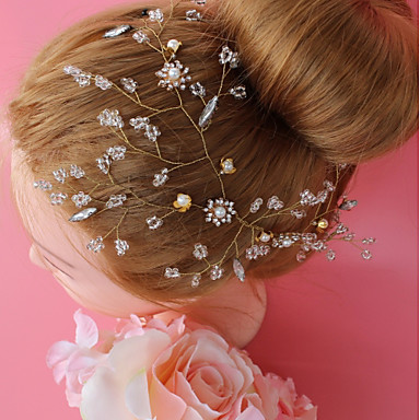 Aliaj Ornamente de Cap cu Cristal / Imitație de Perle / Cristale / Strasuri 1 buc Nuntă / Ocazie specială Diadema