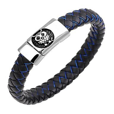 baratos Bangle-Homens Bracelete Pulseiras de couro Magnética Coruja Animal Vintage Aço Inoxidável Pulseira de jóias Azul Escuro / Café / Marron Para Presente Trabalho / Pele