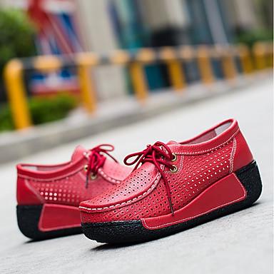 été Bout de Noir Oxfords Cuir Creepers 06714472 Berceau Femme Printemps Jaune Chausson Rouge rond Chaussures Fnzxaft