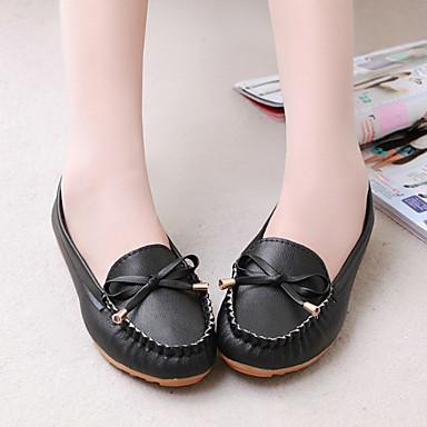 On taco Slip Plano 06751817 bajo y Blanco Negro Tacón de Primavera PU Rosa Confort Zapatos Mujer Zapatos qwFpvf