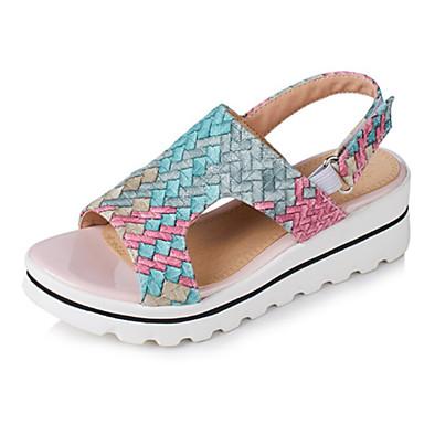 Pentru femei Pantofi PU Primavara vara Pantof cu Berete Sandale Toc Platformă Vârf deschis Cataramă Galben / Rosu / Albastru