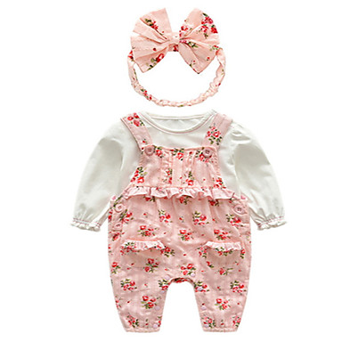 Bebelus Fete De Bază Floral Manșon Lung Set Îmbrăcăminte / Copil