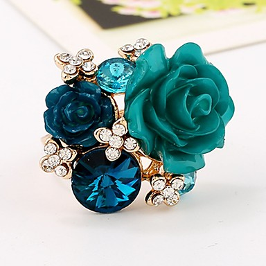 Χαμηλού Κόστους Μοδάτο Δαχτυλίδι-Γυναικεία Cubic Zirconia Δαχτυλίδι για τη μέση των δαχτύλων Ανοίξτε τον δακτύλιο Ρητίνη Κράμα Άνθινο / Βοτανικό Λουλούδι κυρίες Βίντατζ Μοντέρνα Μοδάτο Δαχτυλίδι Κοσμήματα