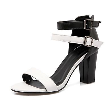 Pentru femei Pantofi Piele nubuc / PU Vară Balerini Basic Sandale Toc Îndesat Pantofi vârf deschis Cataramă Alb / Maro / Party & Seară