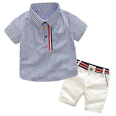 cheap Boys Clothing Set Best Sellers-Toddler Boys' Active / Basic Daily / School Striped / Color Block / Patchwork Patchwork / Print Short Sleeve Regular Regular Cotton / Rayon / Polyester Clothing Set Light Blue