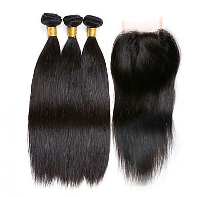 baratos Extensões de Cabelo Natural-3 pacotes com fechamento Cabelo Peruviano Liso 8A Cabelo Humano Cabelo Humano Ondulado Extensões de Cabelo Natural Trama do cabelo com Encerramento 8-22 polegada Côr Natural Tramas de cabelo humano
