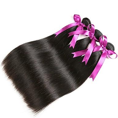 baratos Extensões de Cabelo Natural-3 pacotes Cabelo Peruviano Liso 8A Cabelo Humano Cabelo Humano Ondulado Extensor Cabelo Bundle 8-28 polegada Preta Côr Natural Tramas de cabelo humano Clássico Melhor qualidade Para Mulheres Negras