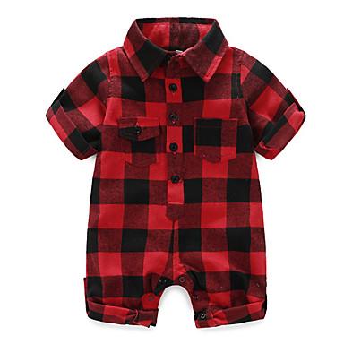 billige Babytøj Drenge Drenge-Baby Drenge Basale Trykt mønster Kort Ærme En del Rød