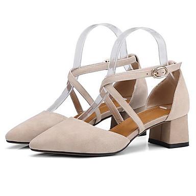 Women's Shoes Heel Suede Summer Comfort Heels Chunky Heel Shoes Black / Almond 4e808b