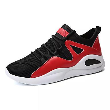 Men's PU(Polyurethane) / Elastic Fabric Summer Shoes Comfort Athletic Shoes Running Shoes Summer / Walking Shoes Color Block Black / Black / Red cb3b81