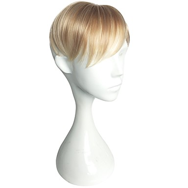 cheap Toupees-Men's Synthetic Toupees Straight Classic Blonde Color Men's Natural Wigs Hair Straight Machine Made Case / New / New Arrival