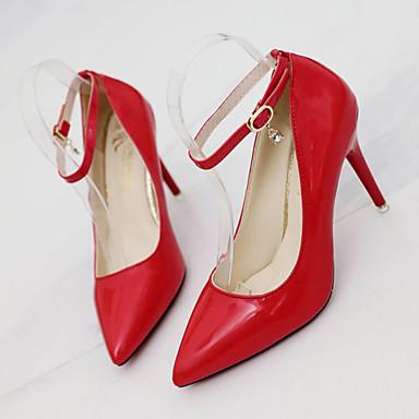 Zapatos Blanco Rojo Tacones Pump Puntiagudo 06755921 Verano Dedo Stiletto Tacón Negro Mujer PU Básico dBfFd