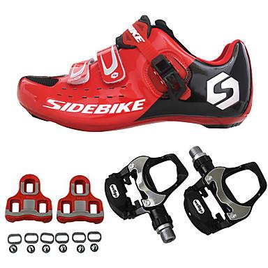 SIDEBIKE Voksne Sykkelsko med pedal og tåjern / Veisykkelsko Karbonfiber Demping Sykling Rød Herre