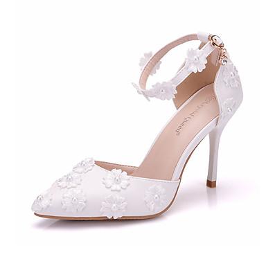Printemps Femme Talon Bout en Satin Perle Chaussures pointu Chaussures Fleur Basique mariage 06734014 été Escarpin de Polyuréthane Aiguille A4rgqEw4