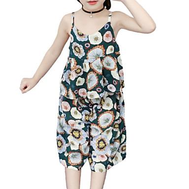 Copii Fete Activ Imprimeu Imprimeu Fără manșon Bumbac Set Îmbrăcăminte