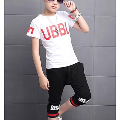 Copii Băieți De Bază Imprimeu Manșon scurt Bumbac Set Îmbrăcăminte