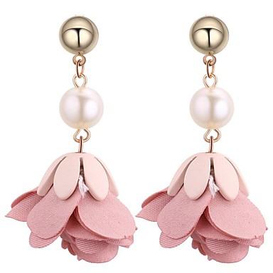 Pentru femei Perle Cercei Picătură - Imitație de Perle Floare Dulce, Modă Verde / Albastru / Roz Pentru Ceremonie Serată