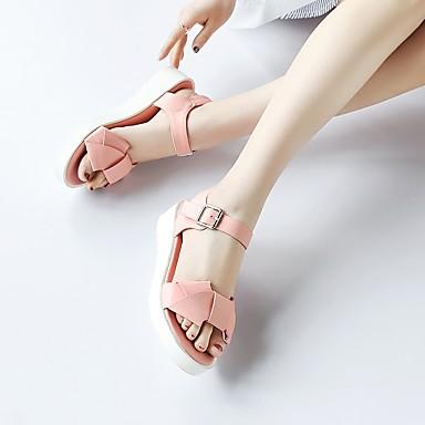 Talon Bout ouvert Polyuréthane Blanc Rose Confort Plat Sandales Boucle Chaussures Printemps été Bleu 06732647 clair Noeud Femme Yw8zx8