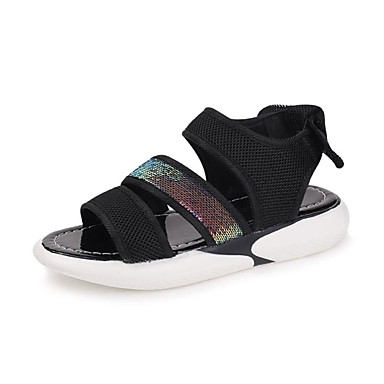 Pentru femei PU Vară Confortabili Sandale Toc Drept Vârf rotund Alb / Negru