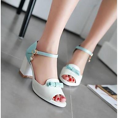 Zapatos Puntera 06770320 Cuadrado Verano Hebilla Tacón PU Mujer abierta Sandalias Azul Negro Confort 4f0q6gqad