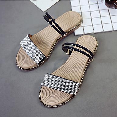 Sandalias el Tacón Mujer Verano Zapatos Blanco Tobillo en Negro Tira Plano PU 06770184 6qwwXc10T
