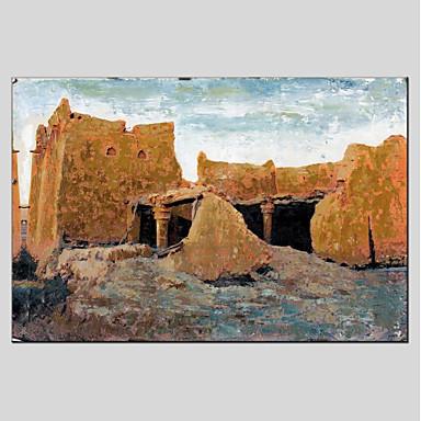 Hang-pictate pictură în ulei Pictat manual - Arhitectură Modern pânză
