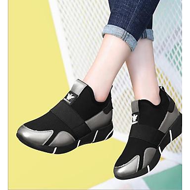 Pentru femei Pantofi PU Primăvară Confortabili Adidași Platformă Negru / Argintiu