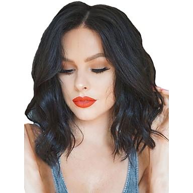 Synthetische Perücken / Synthetische Lace Front Perücken Wellen Kardashian Stil Mittelteil Spitzenfront Perücke Schwarz Natürlich Schwarz Dunkelbraun Synthetische Haare Damen Verstellbar / Hitze / ja