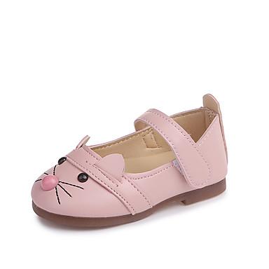 Fete Pantofi PU Primavara vara Confortabili / Tălpi cu Lumini Mocasini & Balerini Plimbare pentru Copii Alb / Negru / Roz / Nuntă