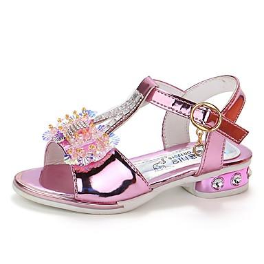 Fete Pantofi PU Vară Confortabili / Pantofi Fata cu Flori Sandale Plimbare Sclipici Strălucitor pentru Copii Auriu / Roz
