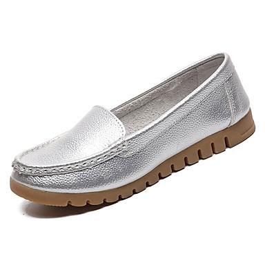 Pentru femei PU Vară Pantof cu Berete Mocasini & Balerini Toc Drept Alb / Negru / Argintiu / Nuntă / Party & Seară