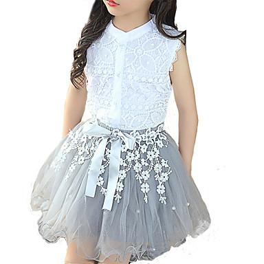 رخيصةأون أطقم ملابس البنات-مجموعة ملابس بدون كم بقع أبيض دانتيل للفتيات أطفال