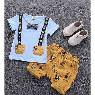 billige Babytøj Drenge Drenge-Baby Drenge Basale Daglig Trykt mønster Kortærmet Normal Normal Bomuld Tøjsæt Hvid