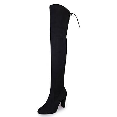 Pentru femei Pantofi PU Iarnă Cizme la Modă Cizme Toc Îndesat Vârf ascuțit Cizme coapsă mare- Negru / Gri / Rosu / Party & Seară
