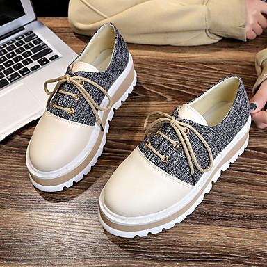 Marche Noir Creepers Polyuréthane Femme Kaki Basket rond été 06752115 Chaussures Confort Bout Printemps v0Y5U