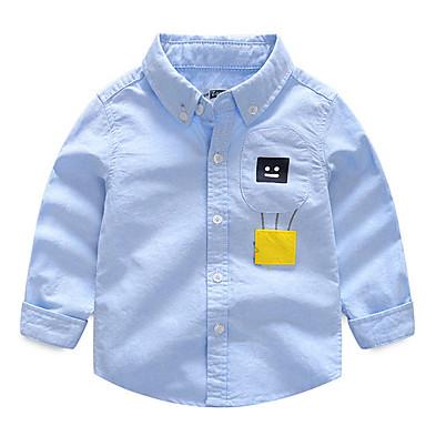 baratos Camisas para Meninos-Infantil Para Meninos Activo Diário Retalhos Patchwork Manga Longa Padrão Algodão Camisa Azul
