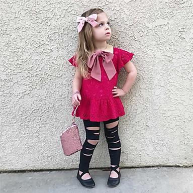 billige Sett med babyklær-Baby Pige Afslappet / Aktiv Daglig / Ferie Jacquard Vævning Lace Trim Kortærmet Lang Tøjsæt Rosa