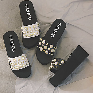 Zapatillas Confort Mujer flops Blanco Goma Negro flip Verano 06734300 plataforma Media Zapatos y IHq4qUw