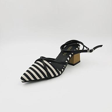 Pentru femei Pantofi PU Primavara vara Pantof cu Berete / Pantofi pe Gleznă Sandale Toc Îndesat Negru / Kaki