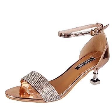 Pentru femei Pantofi PU Vară Pantofi pe Gleznă Sandale Toc Mic Auriu / Argintiu / Party & Seară