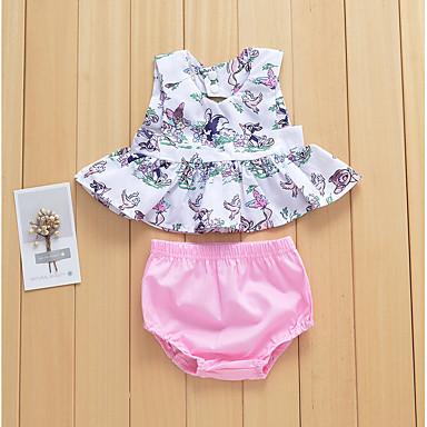Bebelus Fete Activ Imprimeu Fără manșon Lung Set Îmbrăcăminte / Copil