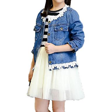baratos Conjuntos para Meninas-Infantil Para Meninas Básico Moda de Rua Diário Feriado Listrado Com Transparência Manga Longa Padrão Algodão Conjunto Azul