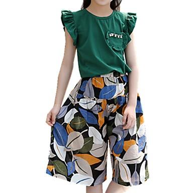 Copii Fete De Bază Zilnic Imprimeu Plasă Manșon scurt Regular Regular Bumbac / Poliester Set Îmbrăcăminte Trifoi