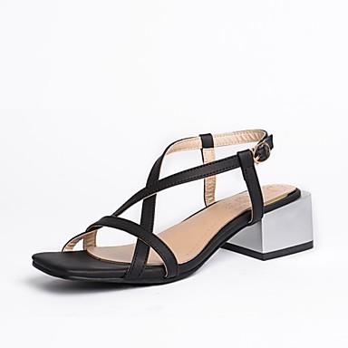 Pentru femei PU Vară Pantof cu Berete Sandale Toc Îndesat Vârf deschis Negru / Gri / Migdală