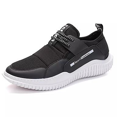 Bărbați Tul / PU Vară Confortabili Adidași de Atletism Alergare Slogan Alb / Negru / Negru / Alb