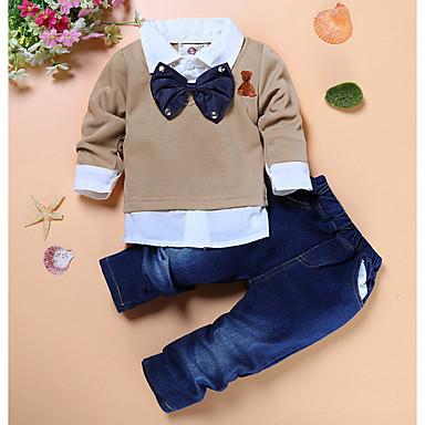 Bebelus Băieți De Bază / Șic Stradă Concediu Mată Manșon Lung Bumbac Set Îmbrăcăminte / Copil