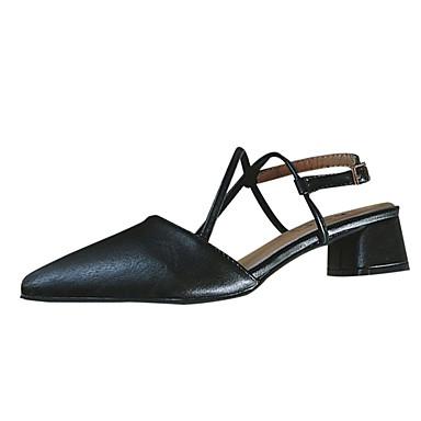 Pentru femei PU Vară Pantof cu Berete Sandale Toc Îndesat Vârf ascuțit Negru / Rosu / Party & Seară / Party & Seară