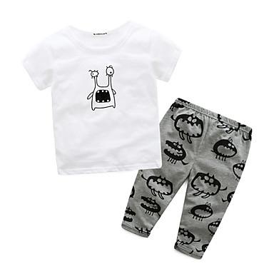 Bebelus Băieți De Bază Zilnic Imprimeu Imprimeu Manșon scurt Regular Bumbac / Poliester Set Îmbrăcăminte Alb 100 / Copil