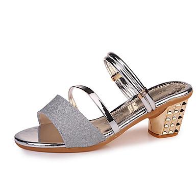 Pentru femei Pantofi PU Vară Pantof cu Berete Sandale Toc Îndesat Vârf deschis Paiete Auriu / Negru / Argintiu / Party & Seară